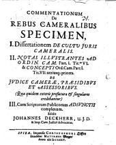 Commentationum de rebus cameralibus specimen