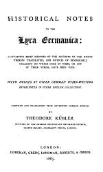 Historical Notes to the Lyra Germanica