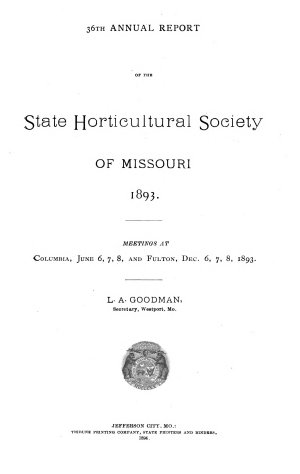 Annual Report of the State Horticultural Society of Missouri