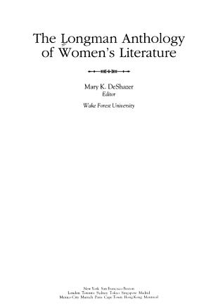 The Longman Anthology of Women s Literature PDF