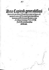 Acta Capituli generalissimi divi ordinis sancti Francisci