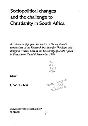 Sociopolitical Changes and the Challenge to Christianity in South Africa PDF