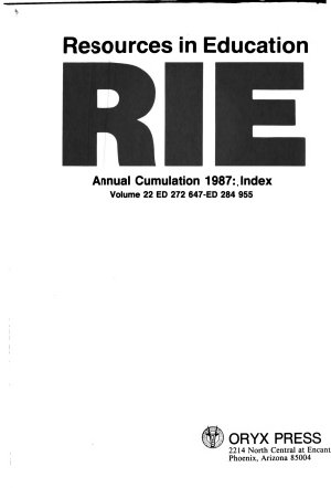 Resources in Education  RIE   1987 PDF
