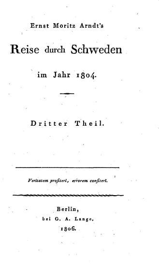Ernst Moritz Arndt s Reise durch Schweden im Jahr 1804 PDF