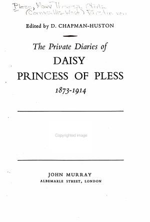 The Private Diaries of Daisy  Princess of Pless