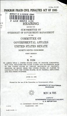 Program Fraud Civil Penalties Act of 1985 PDF
