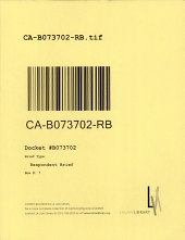 California. Court of Appeal (2nd Appellate District). Records and Briefs: B073702, Respondent Brief