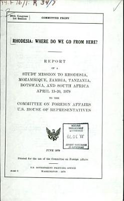 Rhodesia  where Do We Go from Here