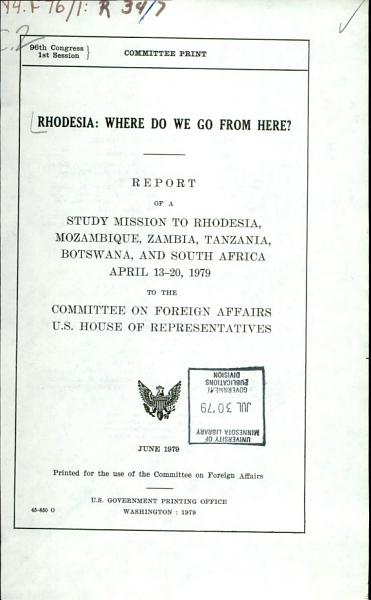 Rhodesia  where Do We Go from Here  PDF