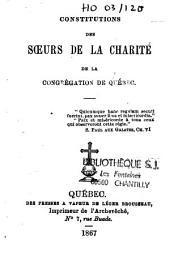 Constitutions des Soeurs de la Charité de la Congrégation de Québec