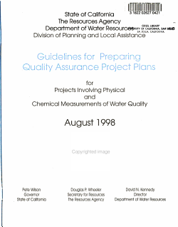 Guidelines for Preparing Quality Assurance Project Plans for Projects Involving Physical and Chemical Measurement of Water Quality PDF