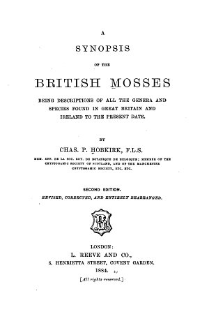 A Synopsis of the British Mosses