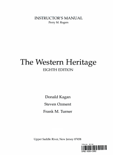 Kagan  the Western Heritage Since 1300 Book