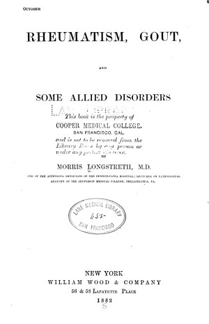 Rheumatism  gout  and some allied disorders