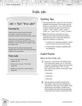 Content Area Vocabulary Level 4  Prefix tele  PDF