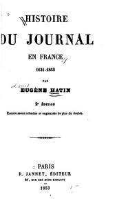 Histoire du journal en France 1631-1853