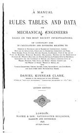 Manual of Rules, Tables & Data for Mechanical Engineers ...
