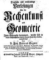 Deutliche     Vorlesungen   ber die Rechenkunst und Geometrie PDF
