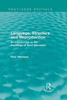 Language  Structure and Reproduction  Routledge Revivals  PDF