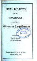 Final Bulletin of the Proceedings of the Wisconsin Legislature PDF