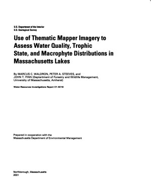 Use of Thematic Mapper Imagery to Assess Water Quality  Trophic State  and Macrophyte Distributions in Massachusetts Lakes PDF