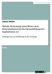 Welche Bedeutung misst Weber dem Protestantismus bei der Herausbildung des Kapitalismus zu?: Prüfungsessay zur Einführung in die Soziologie