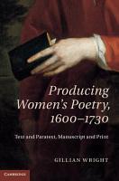 Producing Women s Poetry  1600 1730 PDF