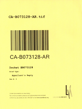 California. Court of Appeal (2nd Appellate District). Records and Briefs: B073128, Appellant's Reply