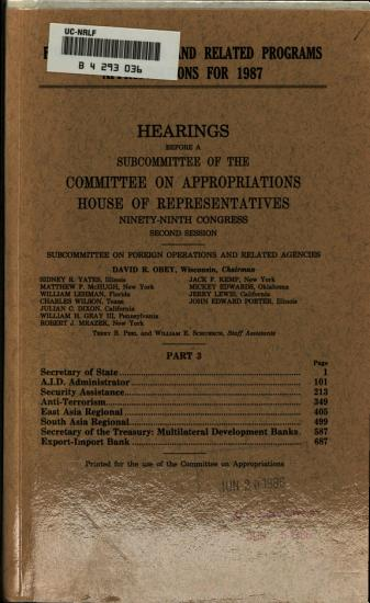 Foreign assistance and related programs appropriations for 1987 PDF