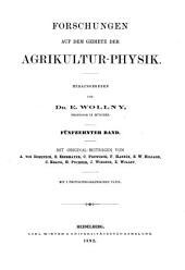 Forschungen auf dem gebiete der agricultur-physik: Band 15