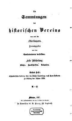 Die Sammlungen des historischen Vereins von und f  r Oberbayern PDF