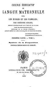 Cours éducatif de langue maternelle à l'usage des écoles et des familles: Volume1