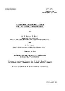 Logarithmic Transformations in the Analysis of Corrosion Data PDF