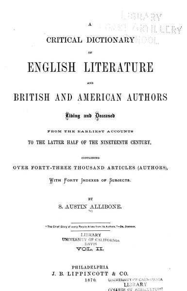 Download A Critical Dictionary of English Literature and British and American Authors Book