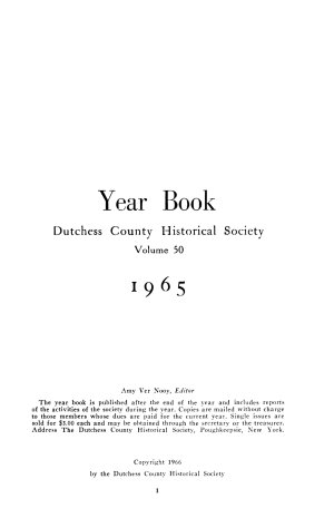 Year Book of the Dutchess County Historical Society