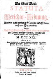 Der Statt Basel Statuta und Gerichts-Ordnung, 1719