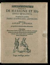 Theses De Hasione Et Hasibili Qvalitate