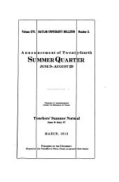 The Baylor Bulletin: Volume 16, Issue 2; Volume 17, Issue 2; Volume 18, Issue 2