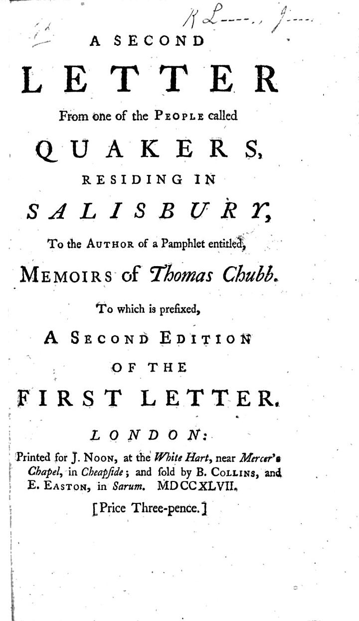 A Second Letter from One of the People Called Quakers