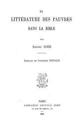 La littérature des pauvres dans la Bible