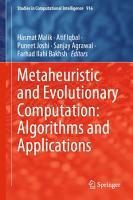 Metaheuristic and Evolutionary Computation  Algorithms and Applications PDF
