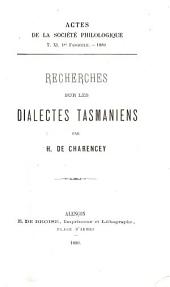 Recherches sur les dialectes tasmaniens