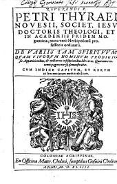 De variis tam spirituum, quam vivorum hominum prodigiosis apparitionibus et nocturnis infestationibus