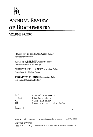 Annual Review of Biochemistry PDF