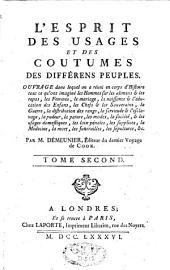 L'esprit des usages et des coutumes des différents peuples: Volume2