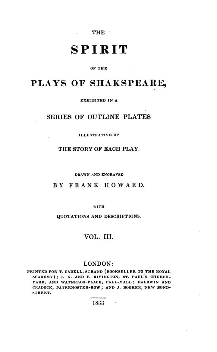 King John. Richard the Second. Henry the Fourth. Pts. 1 and 2. Merry wives of Windsor. Henry the Fifth. Henry the Sixth. Pts. 1, 2 and 3. Richard the Third. Henry the Eighth