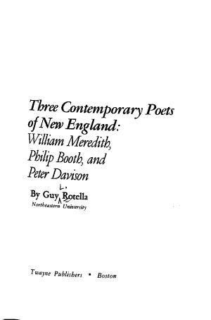 Three Contemporary Poets of New England