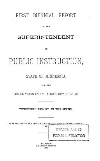Annual report of the State Superintendent of Public Instruction to the Legislature of Minnesota PDF