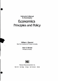 Instructor s Manual to Accompany Economics Principles and Policy