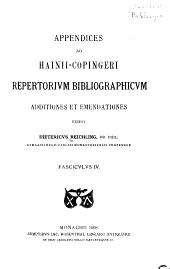 Appendices ad Hainii-Copingeri Repertorivm bibliographicvm: Μέρη 4-6